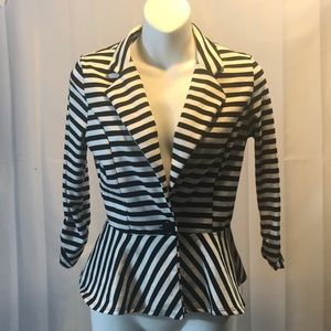 Jackets & Blazers - Multi Stripe White Black Blazer Button Top